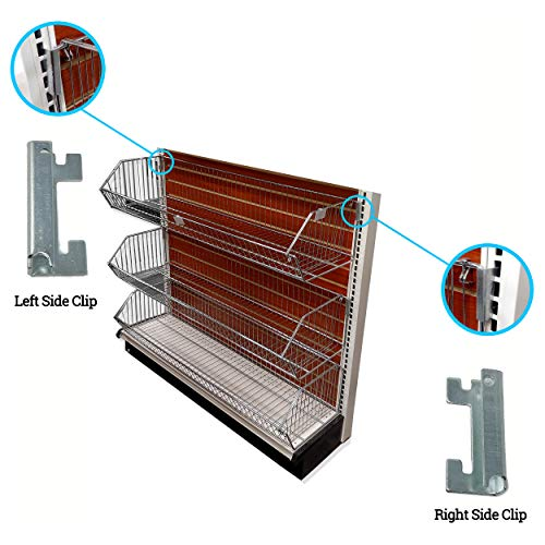 (Open End Basket Holding Clips to Hold Wire Baskets on Gondola Shelf Upright, Left & Right Clips, 5 Pairs)