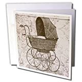 steam buggy - Vintage Baby Buggy Steampunk Art - Greeting Card, 6 x 6 inches, single (gc_110258_5)