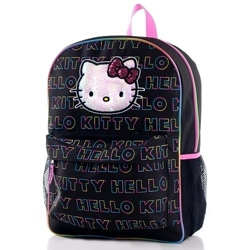 Hello Kitty Backpack - Black with Multi Color Logo Print ()