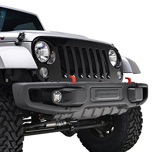 Grill Black Auto Car (E-Autogrilles 07-17 Jeep Wrangler JK Glossy Black ABS Full Replacement Grille Grill Shell (41-0133B))