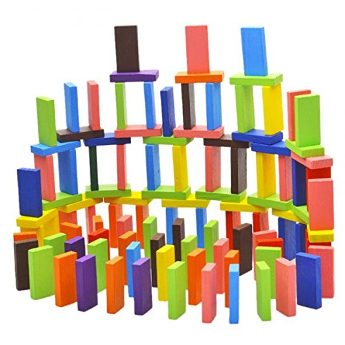 Dominoes Pack (120Pcs/Set Mix 10 Colors Wooden Kids Children Domino Game Play Toys)