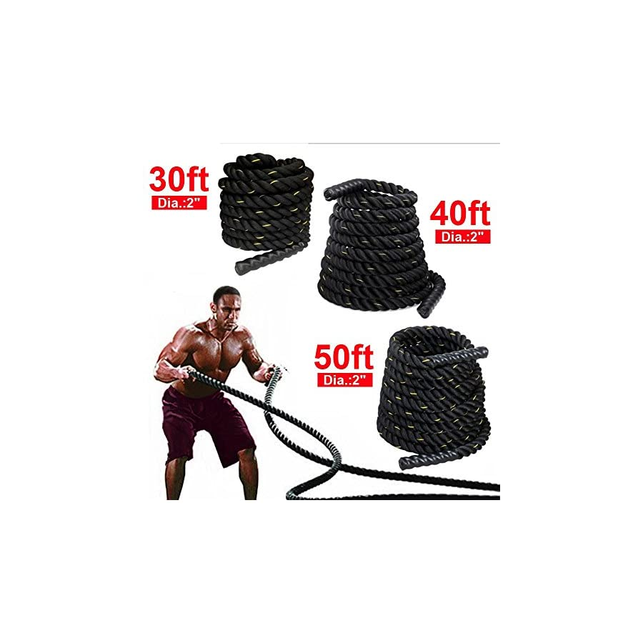 """Yaheetech 1.5"""" Polyester 30/40/50ft Battle Rope Workout Cardio & Core Strength Training Fitness Undulation Rope Exercise"""