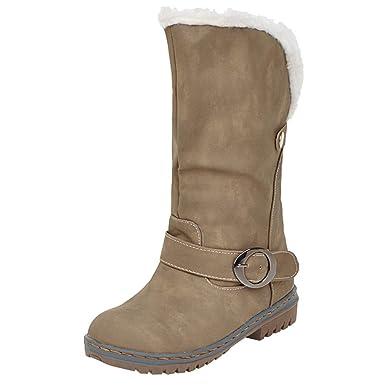 JiaMeng Botas De Nieve Skidproof Felpa Algodón Acolchado Cuña Zapatos Mantén Las Botas de Nieve cálidas