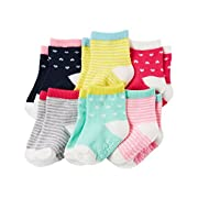 Carters Baby-Girls Socks, Heart/Stripe, 3-12 Months (Pack of 6)