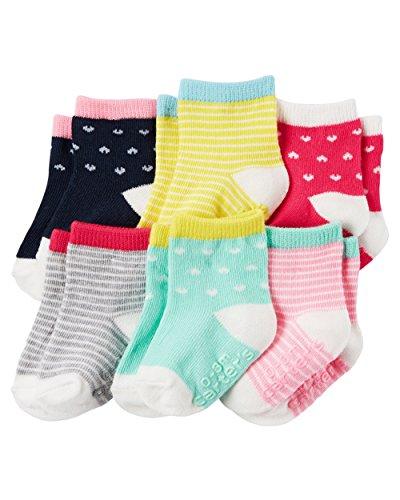 Carter's Baby-Girls Socks, Heart/Stripe, 0-3 Months (Pack of 6)
