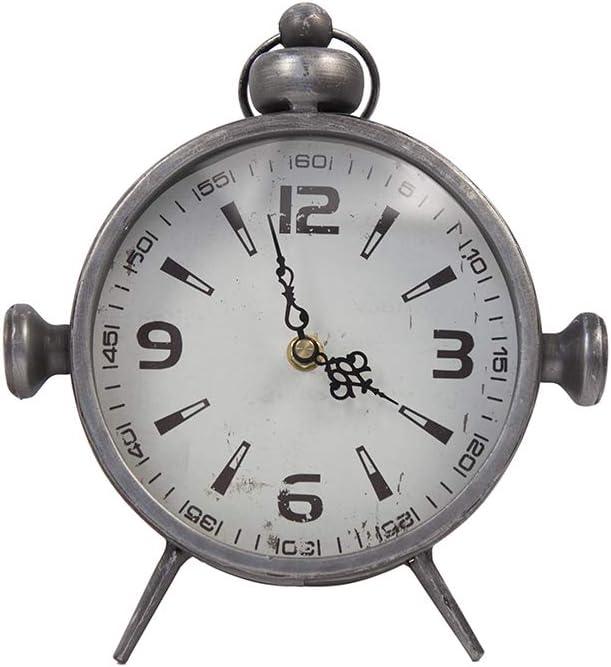 Designstyles Metal Vintage Desk Clock – Classic Analog Shelf Clock for Office, Bedroom, Living Room – Decorative Table Top Design - Battery Operated