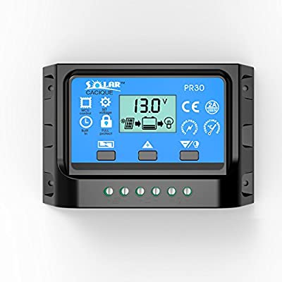 30AMP Solar Panel Charge Controller PWM Battery Smart Regulator with USB Backlight Display 12v/24v (30A)