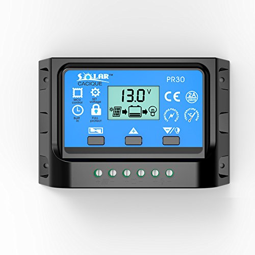 30AMP Solar Panel Charge Controller PWM Battery Smart Regulator with USB Backlight Display 12v/24v (30A) by Caciquesolar