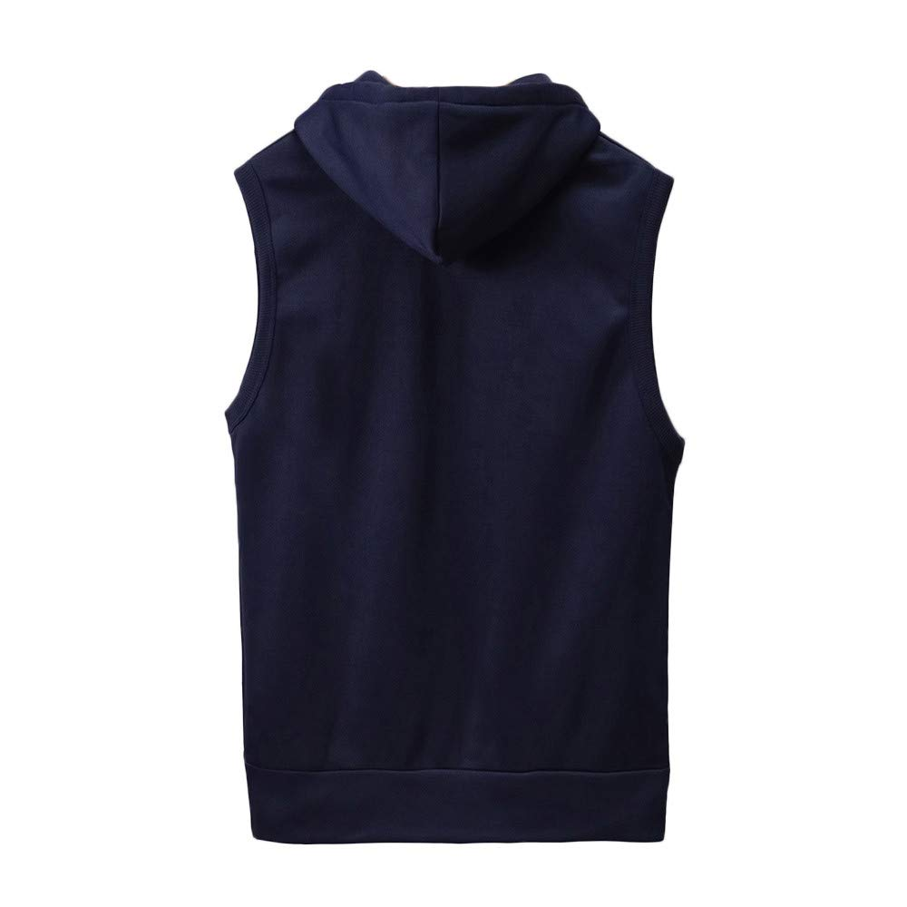 WUAI Clearance Men's Hoodie Jackets Sleeveless Slim Fit Waistcoat Solid Color Athletic Sports Tops(Navy,US Size M = Tag L) by WUAI (Image #1)