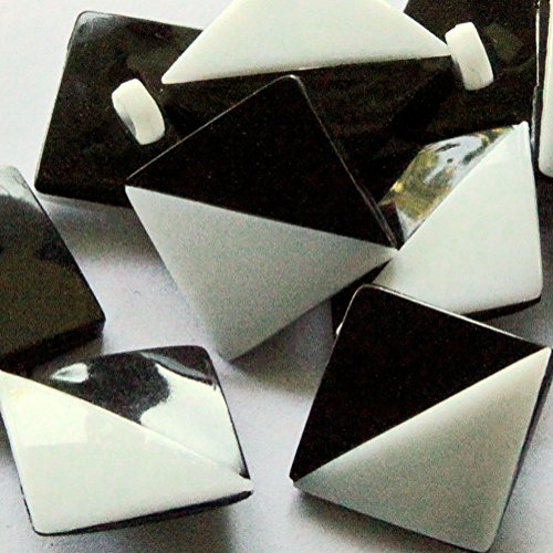 """Fancy & Decorative {19mm w/ 1 Back Hole} 8 Pack of Medium Size Square """"Popper Shank"""" Sewing & Craft Buttons Made of Plastic w/ Glossy Retro Diagonal Triangle B&W Design {Black & White}"""