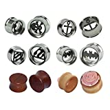 D&M Jewelry 6 Pairs Mixed Stainless Steel Wood Batman Superman Anchor Christian Cross Flower Plugs Tunnels Expanders