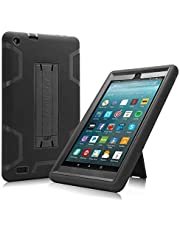 All-New Amazon Fire 7 Tablet Case, Cherrry Heavy Duty Shockproof Hybrid Full Body Protective Case Build in Kickstand for Amazon Fire 7(2017 Release) +Screen Protector Film + Stylus Pen (Black)