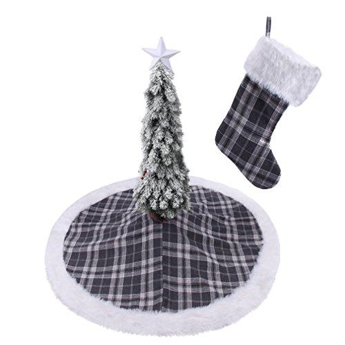 42'' Tartan Christmas Tree Skirt and Christmas Stocking Decoration set (With 3 Free Gift!) - 42' Tree Skirt