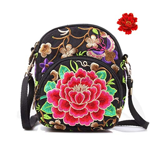 (seeknfind Vintage Peony Embroidery Bag Mini Shoulder Bag Crossbody Bag Cellphone Bag for Women and Girls (Red peony))