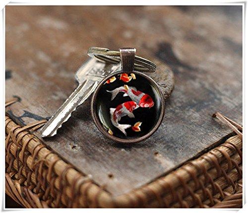 Koi fish keychain, art keychain, Lucky fish keychain, Asian Art keychain, lucky gift