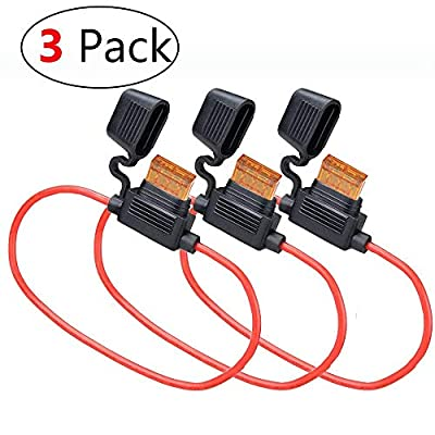 MCIGICM Waterproof Inline Fuse Holder with 40A ATC Blade Fuse, 10 AWG, 3 Pack: Car Electronics