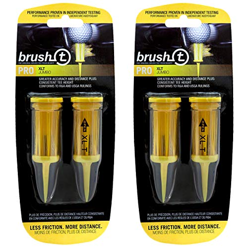 "Brush T Extreme 3 1/8"" Golf Tees - Yellow - 2 Packs of 2 - (11904)"
