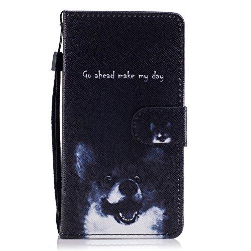 Funda Huawei Y560,Ecoway Pintado Cuero de la PU Leather Cubierta, Función de Soporte Billetera con Tapa para Tarjetas Soporte para Teléfono - Madera azul Perro Keke