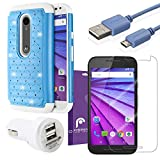 Fosmon Bundle for Motorola Moto G (3rd Gen, 2015): (HYBO-SD) Hybrid Case, 2100mAh Dual Port USB Rapid Car Charger, 2.1v Micro USB Charge Data Cable (1m), and 3-Pack [HD CLEAR] Screen Protector for Moto G (3rd Gen, 2015) (Sky Blue / White)