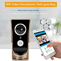 Wifi Video Doorbell , Smart Doorbell 720P HD Security Camera with 8G Memory Storage, Real-Time Video and Two-Way Talk, Night Vision, PIR Motion Detection and App Control for iOS and Android