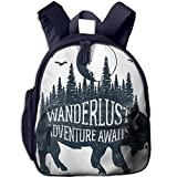Haixia Kids' Boy's&Girl's School Backpack with Pocket Adventure Hand Drawn Buffalo with Wanderlust Lettering Forest and Moon Journey Theme Print Decorative Indigo
