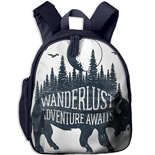 Haixia Kids' Boy's&Girl's School Backpack with Pocket Adventure Hand Drawn Buffalo with Wanderlust Lettering Forest and Moon Journey Theme Print Decorative Indigo by Haixia