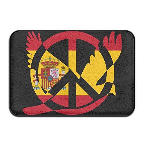 Spain Flag Peace Sign Symbol Indoor Outdoor Entrance Rug Non Slip Kitchen Rug Doormat Rugs Home by HONMAt-Non