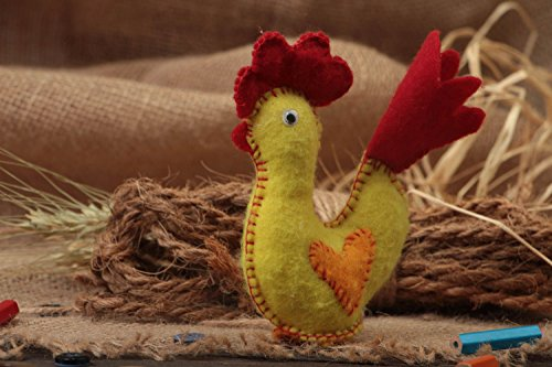 Felt Rooster (Rooster Toy Made Of Felt Soft Yellow Handmade Little Designer Present For Baby)