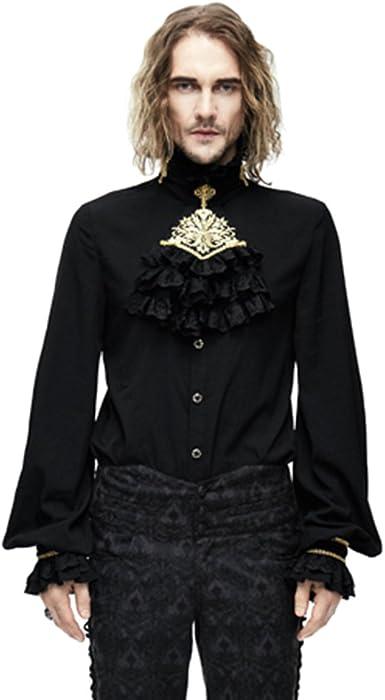 Mens Gothic Punk Long Sleeve Velvet T Shirt Steampunk Pullover Cape Blouse Tops