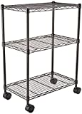 AmazonBasics 3-Shelf Shelving Storage Unit on Wheels, Metal Organizer Wire Rack, Black
