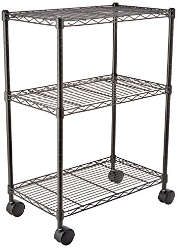 (AmazonBasics 3-Shelf Shelving Storage Unit on Wheels, Metal Organizer Wire Rack, Black)