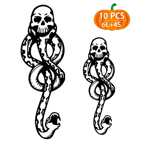 Temporary Tattoos 10pcs, Death Eater Dark Mark Tattoos for Kids, Halloween Tattoos for Kids, Women, Men, Dark Mark Tattoos for Harry Potter Costume Accessories and ()