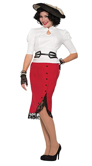 1940s Costumes- WW2, Nurse, Pinup, Rosie the Riveter Forum Novelties X76681 Red 1940s Pencil Skirt Costume (uk 10-12) $18.09 AT vintagedancer.com