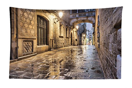 Lunarable City Tapestry, Narrow Street Gothic Design Architecture Carrer del Bisbe Barcelona Spain Europe, Fabric Wall Hanging Decor for Bedroom Living Room Dorm, 45 W X 30 L Inches, Tan Pale Brown by Lunarable