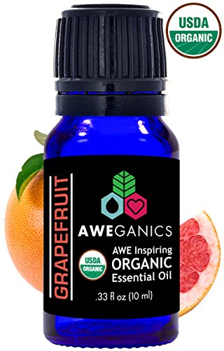 Aweganics Pure Grapefruit Oil USDA Organic Essential Oils, 100% Pure Natural Premium Therapeutic Grade, Best Aromatherapy Scented-Oils for Diffuser, Home, Office, Women, Men - 10 ML - MSRP $14.99 (Grapefruit Oil Organic Essential Pure)
