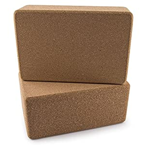 Da Vinci Set of 2 Premium Natural Cork Yoga Blocks - High Density, 9 x 6 x 4 Inch Each