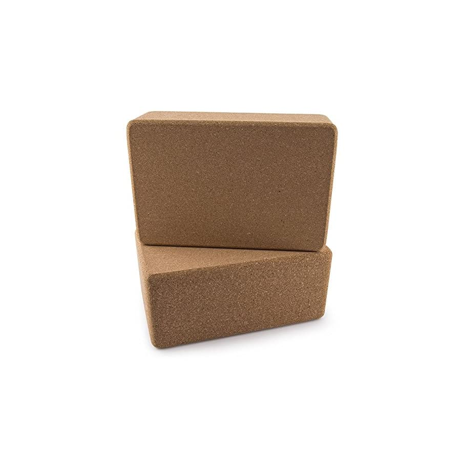 Da Vinci Set of 2 Premium Natural Cork Yoga Blocks High Density, 9 x 6 x 4 Inch Each