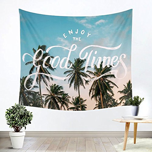"""Outdoor Coconut Palm Tree (iLeadon Palm Tree Leaf Tapestry Wall Hanging – Light-weight Polyester Fabric Wall Decor for bedroom (60""""H x 80""""W, Coconut Tree))"""