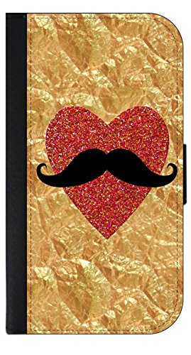- Mustache on Red Heart on Faux Crinkle Gold Print - TM Wallet Style Phone Case Compatible with the Apple iPhone 7 Plus / Apple iPhone 8 Plus (7+,8+) Universal