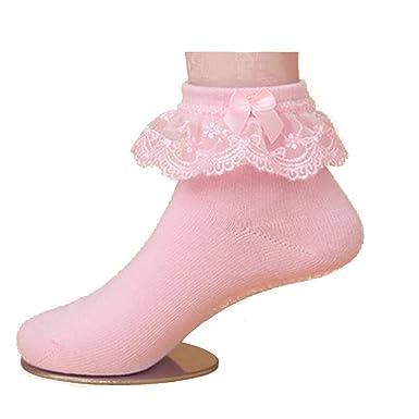 611b8662498 Westeng Chaussettes en Coton Chaussettes Bébé avec Décoration de Dentelle  Rose 1 Paire