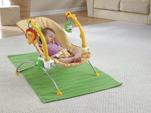 Fisher-Price Newborn and Infant Portable Baby Boys/Girls Musical Bouncer Activity Swing Chair Rocker with Soothing Seat Vibration and Swivel Toy Arm Functions Yellow