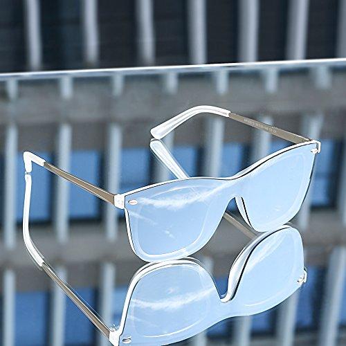 Soleil Femme Monture Lentilles Frameless Argent et 2 Sans Piece Lunettes Miroir Paires Rivet Hommes de One Rose 5PqRBw