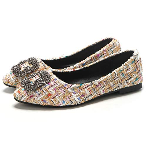 shallow shoes shoes shoes A non shoes Rhinestone work mouth pointed slip fashion flat FLYRCX outdoor gB5wAqC