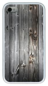 protective iphone 4S case Gray wood TPU White for Apple iPhone 4/4S
