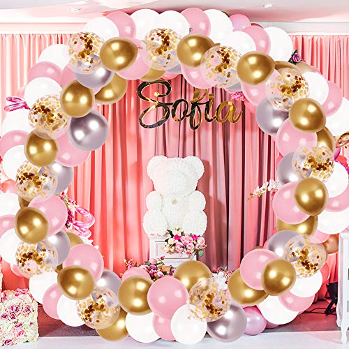 LovesTown Balloon Arch Garland Set,120 Pcs White Pink Gold Latex Balloons White Gold Confetti Balloons Baby Shower Ballons for Girl Wedding Birthday Graduation Party Decorations