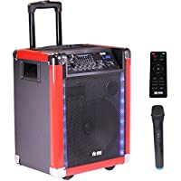 "EMB PRO PKL600BK 10"" Rechargeable Portable Bluetooth Trolley 1000W Max w/ LED Light Effects Boom Box USB/SD/FM/AUX w/ Trolley LED Lights 7 Hours Battery For Party/Karoke/DJ"