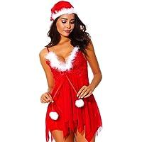 Holibanna Conjunto de Lencería Navideña para Mujer Ropa de Noche Santa Satin con Sombrero de Santa Talla L Navidad Traje…