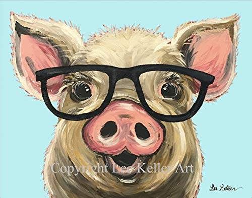 Pig art Print, Posey the Pig, Pig with Glasses art