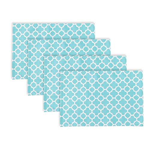NATUS WEAVER Set of 4, 2 Side Cotton Placemats Heat Resistant Dining Table Place Mats for Kitchen Table, 12 x 18 inches, Geometric Trellis Chain Print, Teal (Chain Trellis)
