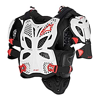 Image of Alpinestars A-10 Full Chest Protector-White/Black/Red-XL/2XL Chest Protectors